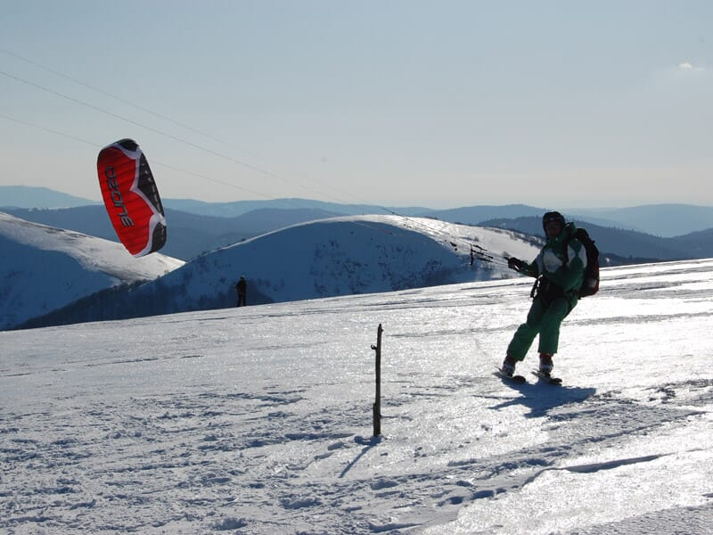Stage de snowkite dans le massif des Vosges